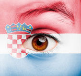 Girl with croatian flag painted — Stock Photo