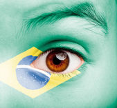 Girl with brazilian flag painted — Stock Photo
