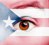 Girl with puerto rican flag painted — Stock Photo