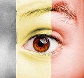 Girl with flemish flag painted — Foto Stock