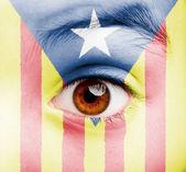 Girl with catalan pro-independence flag painted — Stock Photo