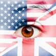 Girl with british and united states flag painted — Stok fotoğraf