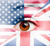 Girl with british and united states flag painted — Stock Photo