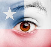 Girl with chilean flag painted — Stock Photo
