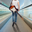 Young musician woman with electric guitar  — Foto Stock