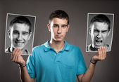 Young man with two faces — Stock Photo