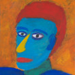 Painted portrait of colorful man — Stock Photo