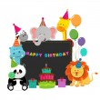 Birthday Animals — Stock Vector