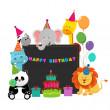 Birthday Animals — Stock Vector