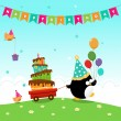 Penguin Delivering Birthday Cake — Stock Vector