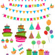 Stock Vector: Birthday Set
