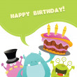 Birthday Monsters Card — Stock Vector #26128117