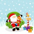 Kid With Santa — Stock Vector
