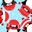 Stock Vector: Penguins Celebrating Christmas