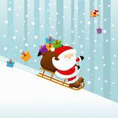 Santa with sledge — Stock Vector