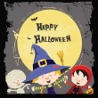 carte enfants Halloween — Vecteur