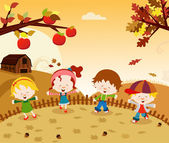 Autumn Kids — Stock Vector