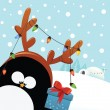 Reindeer Penguin With Christmas Gift — Stock Vector