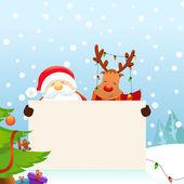 Santa With Reindeer — Stock Vector