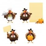 Thanksgiving Turkey Set — Stock Vector