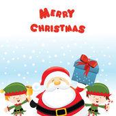 Santa With Elves — Stock Vector