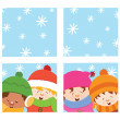 Stock Vector: Kids Watching Snow