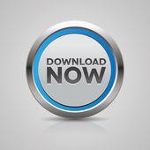 Botão fazer download agora aço azul — Vetor de Stock