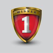 Vector no 1 winner golden label - shield — Stock Vector
