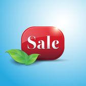 Prodej červené tlačítko — Stock vektor