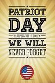 Día del patriota palabras bandera americana 11 de septiembre de 2001 — Vector de stock
