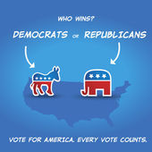 Who wins? Democrats or Republicans? — Stock Vector