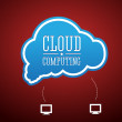 Stock Vector: Cloud computing concept vintage style