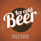 Vintage metal sign - Ice cold beer - Sold here! — Vecteur