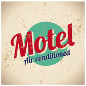 Motel vintage sign - Air conditioned — Stock Vector