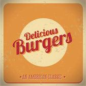 Delicious burger vintage American Classic — Stock Vector