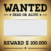 Wanted dead or alive template — Stock Vector