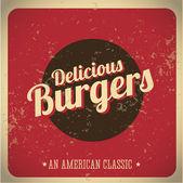 Delicious Burgers vintage print — Stock Vector
