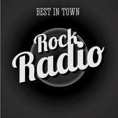 Rock radio vintage black and white — Stock Vector