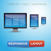 Responsive web design displayed on different devices — Stock Vector