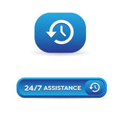 24 hour assistance button — Stock Vector