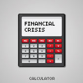 Crisis financiera en la calculadora — Vector de stock