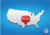 Houston on USA map — Stock Vector