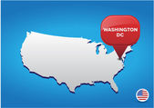 Washington DC on USA map — Stock Vector