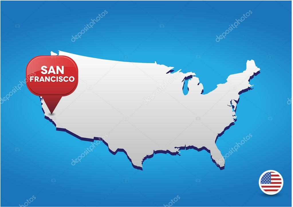 San Francisco on USA map Stock