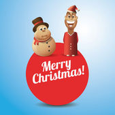 Merry Christmas Card with Young Santa a Snowman — Vettoriale Stock