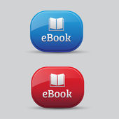Ebook icon button red and blue — Stock Vector