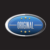 Blue Original button retro style — Stockvector