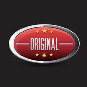 Red Original button retro style — Stock vektor