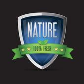 Nature - 100 percent fresh shield — Stock Vector