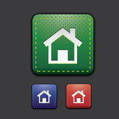Home icon set - green, red, blue — Stock Vector